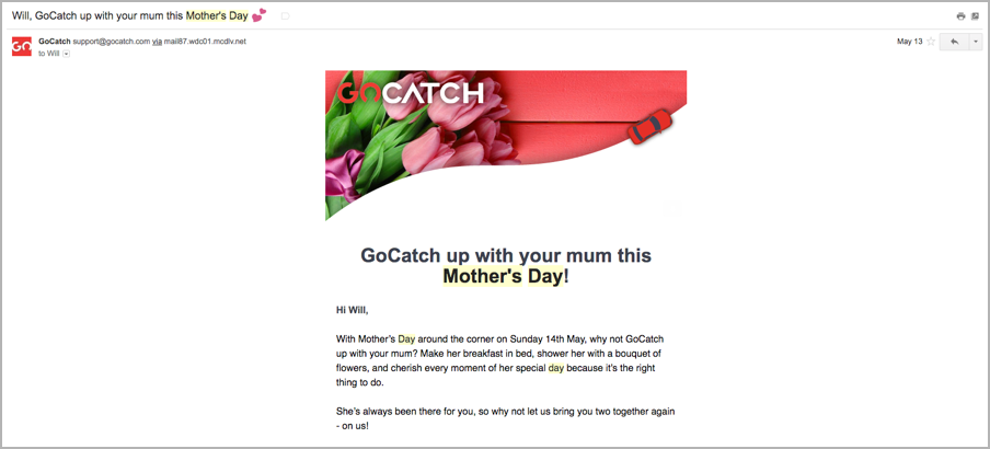 Content marketing calendar - mother's day