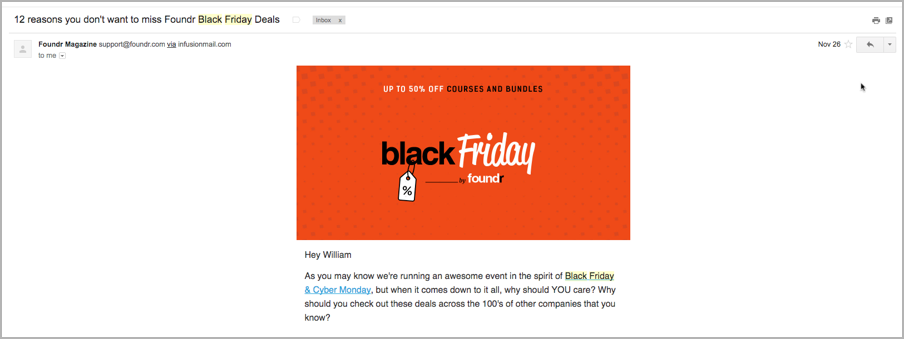 Content marketing calendar - Black Friday