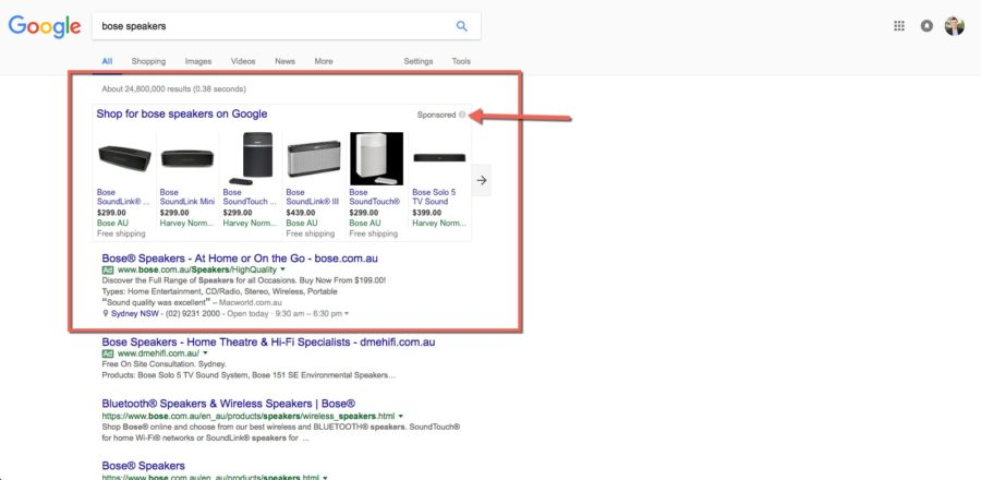 Bose-speakers-in-Google-adwords